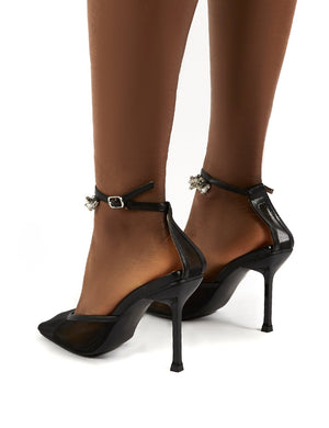 Macie Black Mesh Anklet Detail Stiletto Heels