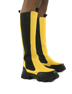 Monique Yellow Chunky Sole Knee High Boots