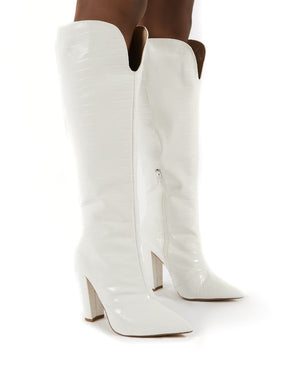 Slow White Snake Wide Fit Knee High Block Heel Boots