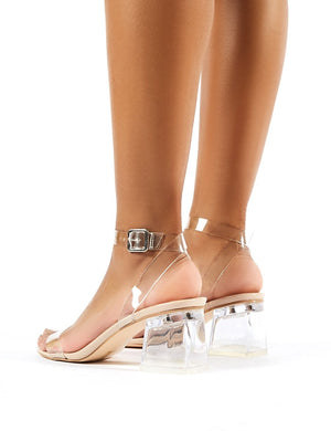 Afternoon Wide Fit Nude Patent Perspex Block Heels