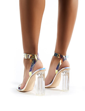 Alia Strappy Perspex High Heels in Iridescent