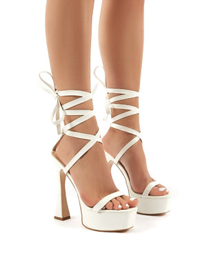 Endgame White Snakeskin Lace Up Platform High Heels