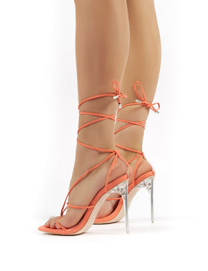 Hysteria Orange Faux Suede Strappy Lace Up Perspex Stiletto High Heels