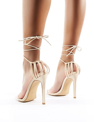 Isla Perspex Lace Up Heels in Nude