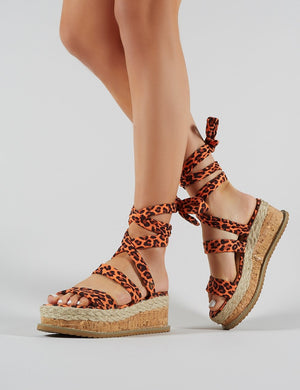 Presca Lace Up Sandals in Orange Leopard Print