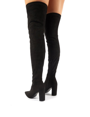 Scorch Black Faux Suede Over the Knee