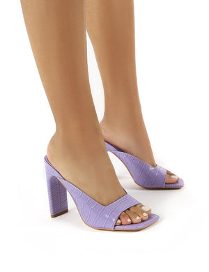 Abella Lilac Square Toe High Heeled Mules
