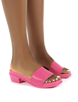 Amina Pink Slip on Low Heel Sandal