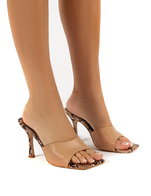 Arya Beige Snake Wide Fit Square Toe Heeled Mules Sandals