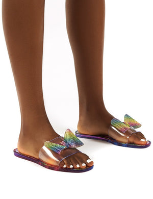 Bobbie Rainbow Multi Perspex Diamante Detail Bow Flat Sandals