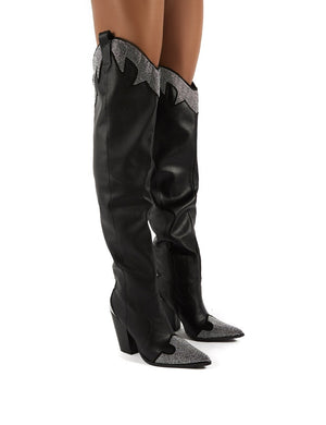 Brandy Black Diamante Western Block Heeled Knee High Boots
