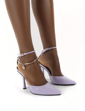 Decision Lilac Patent Wide Fit Anklet Detail Court Heels