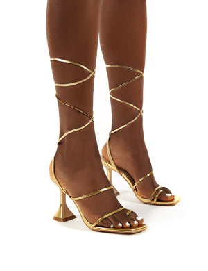 Evalyn Gold Lace Up Detail Mid Height Heels