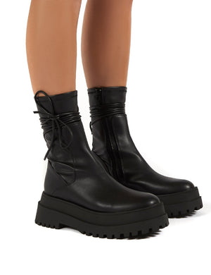 Finale Black Wide Fit Chunky Sole Ankle Wrap Boots