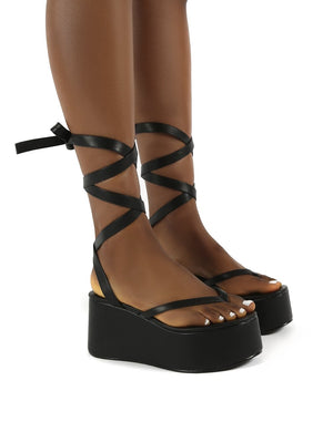 Geisha Black PU Tie Up Thong Strap Flatform Sandals
