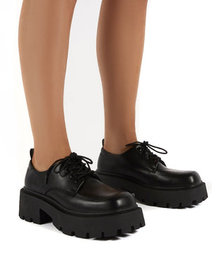 Koop Black Lace up Platform Brogues