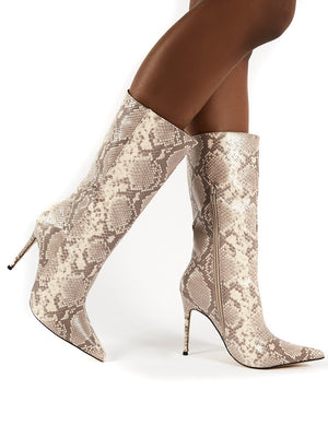 Mystic Beige Snake Knee High Stiletto Heel Boots