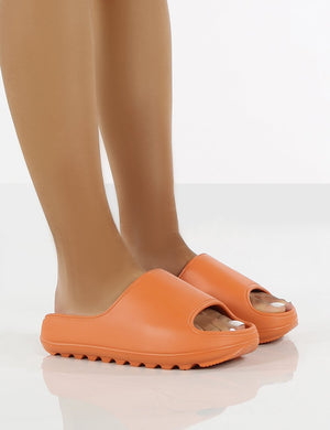 North Orange Rubber Ribbed Sole Sliders