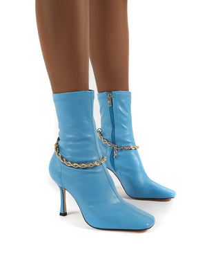 Sacci Blue Wide Fit Chain Detail Square Toe Stiletto Heel Ankle Boots