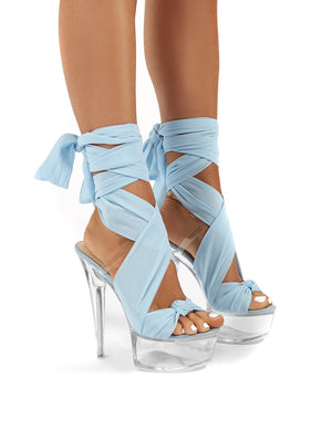Secrets Blue Platform Ribbon Tie Wrap Around Ankle Heels