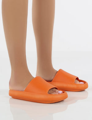 Solar Orange Rubber Flat Sliders