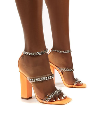 Statement Orange Chain Ankle Strap Square Toe Block Heel
