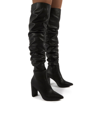 Theirs Black Wide Fit PU Over the Knee Boots