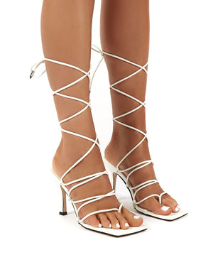 Toronto White Square Toe Wrap Around Lace Up Ankle Heels