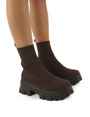 Trust Chocolate Chunky Platform Sole Sock Ankle Boots
