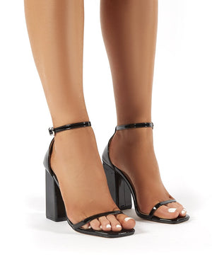 Anna Black Patent Square Block Heel Barely Theres