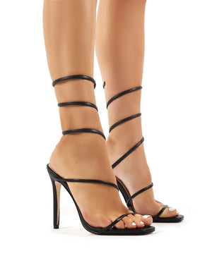 Caris Black Wrap Around Cuff Stiletto High Heels
