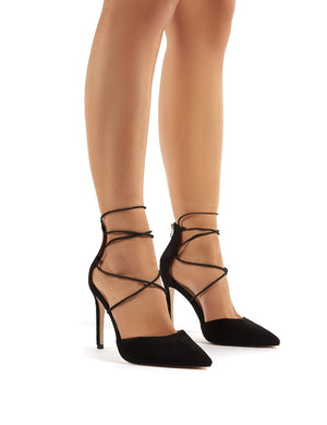 Volt Wide Fit Black Suede Lace Up Court Heels