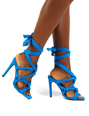 Convo Blue Neoprene Knotted Lace Up Stiletto High Heels