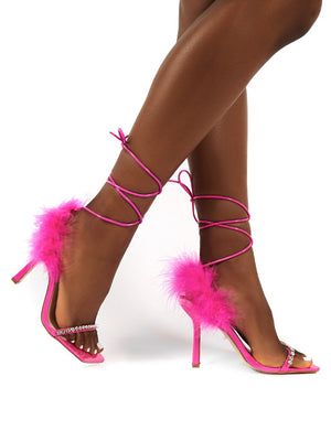 Fifi Pink Feather Lace Up Ankle Square Toe Stiletto Heels