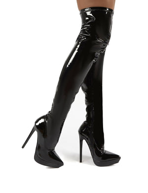 Forward Black Patent Stiletto Heeled Over the Knee Boots