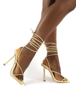 Lacey Vanilla Pu Wide Fit Square Toe Strappy Lace up Heels