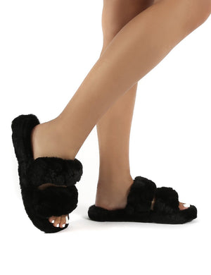 Minky Black Fluffy Double Strap Slippers