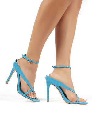 Emilia Turquoise Croc Strappy Stiletto High Heels