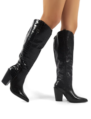 Grenade Black Croc Western Heeled Knee High Boots