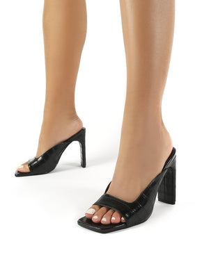 Abella Black Croc Square Toe High Heeled Mules