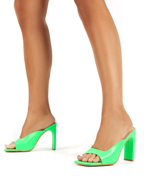Abelle Green Square Toe High Heeled Mules