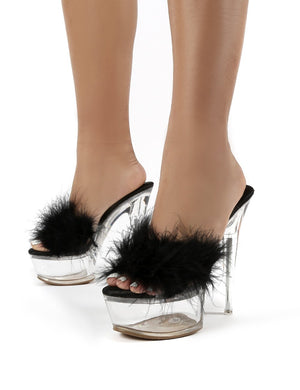 Behaviour Black Perspex Platform Feather Stiletto Heels