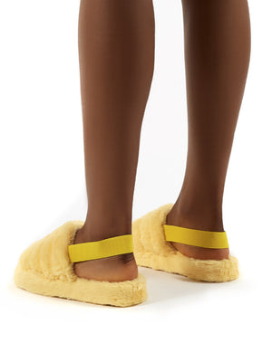 Dreamtime Lemon Fluffy Strap Back Slippers