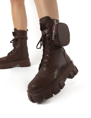 Intention Chocolate Chunky Sole Pouch Ankle Boots