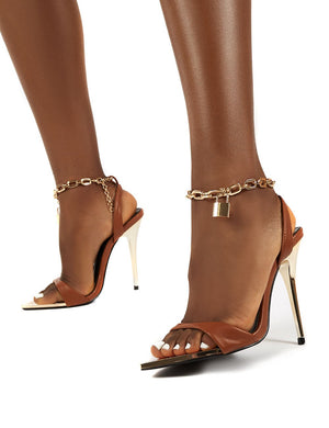 Triumph Tan PU Lock Chain Detail Anklet Strap Stiletto Heels
