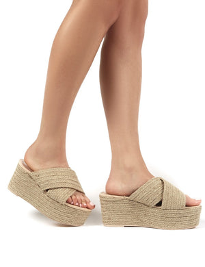 Breeze Nude Cross Over Espadrille Flatform Sandals