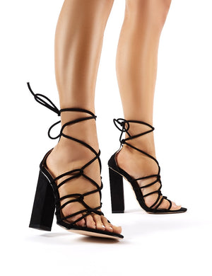 Camila Black Faux Suede Lace Up Block Heels