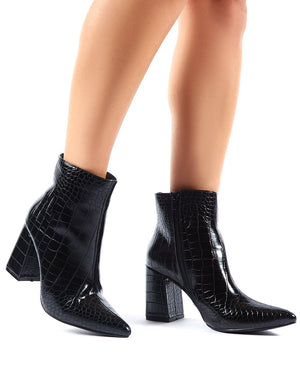 Empire Pointed Toe Ankle Boots in Black Croc