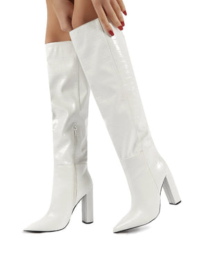 heeled knee high boots next day delivery