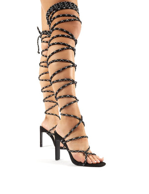 Losin' It Black Extreme Lace Up Set Back High Heels